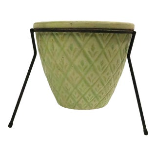 Mid Century Modern Planter in Wrought Iron Frame For Sale
