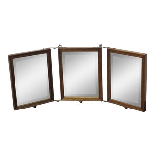 Antique Art Nouveau Travel Trifold Hanging Shaving Beveled Mirror in Oak Frame