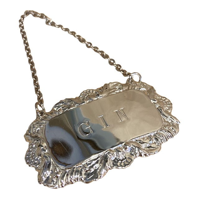 Vintage Silverplate Gin Decanter Tag For Sale