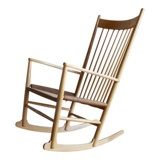 Danish Mid Century Modern Hans Wegner Rope Seat Shaker J16 Rocker Rocking Chair For Sale
