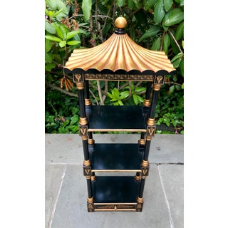 1980s Chinoiserie Black and Gilt Painted Pagoda Shelf Preview