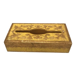 Mid-Century Italian Florentine Giltwood Tissue Dispenser For Sale
