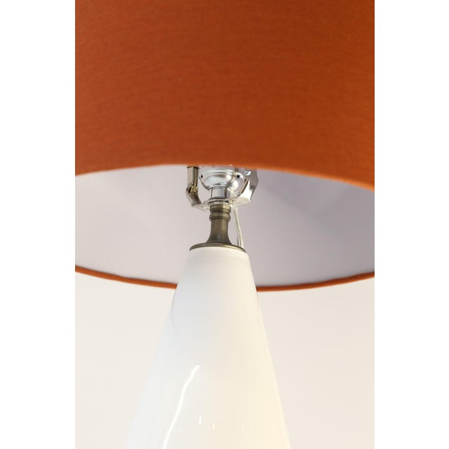 White glass table lamp from hand-blown cased-glass footed vase. This custom fixture is newly-wired for use within the USA...