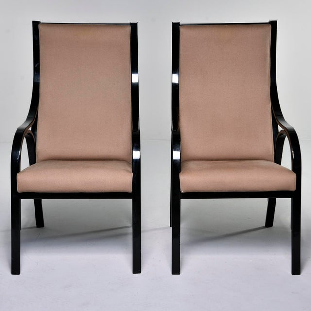 Pair Mid Century Ebonised High Back Italian Armchairs For Sale - Image 10 of 10