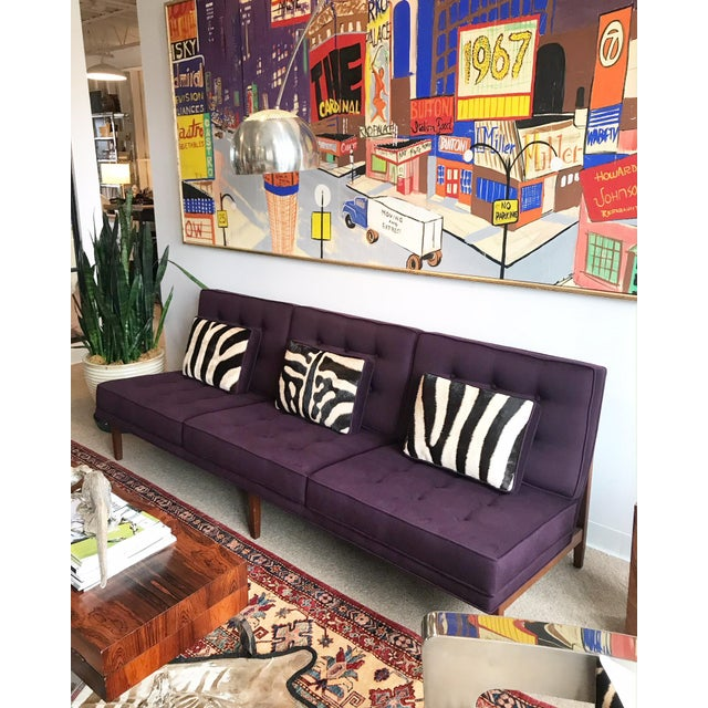 Forsyth Vintage Florence Knoll Sofa Restored in Loro Piana Cashmere With Custom Zebra Hide Pillows For Sale - Image 12 of 13