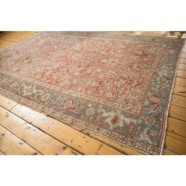 "Textile Vintage Distressed Heriz Carpet - 6'8"" X 9'6"" For Sale - Image 7 of 13"