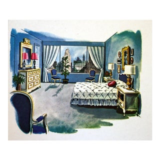 1950's Bedroom Illustration Drawing