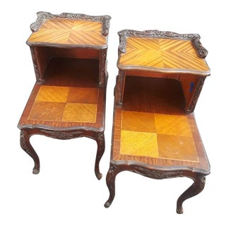French 2 Tiered Telephone Table Side or Bedside Tables - a Pair For Sale