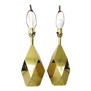 Faceted Mirrored Brass Table Lamps - A Pair