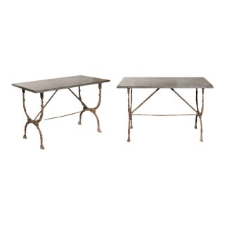 French Iron Consoles with Original Stone & Intricate Base / Stretcher - a Pair For Sale