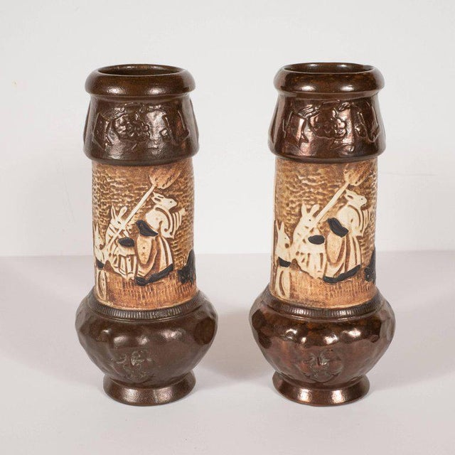 1920s Pair of Art Deco Hand-Painted Ceramic Vases With Orientalist Motifs by Bretby For Sale - Image 5 of 12