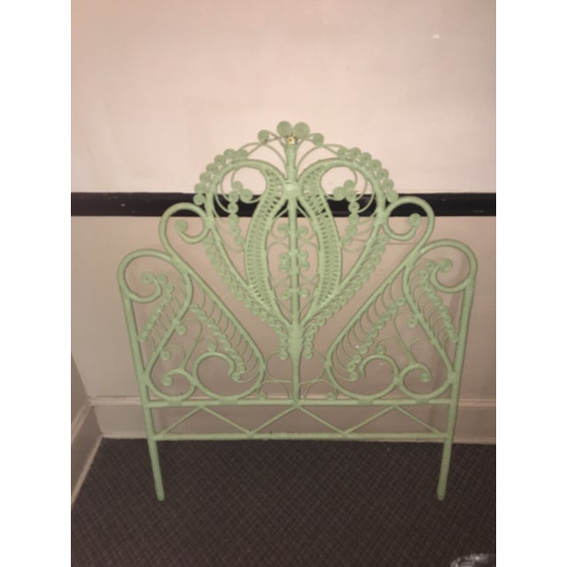 1960s Mid-Century Green Rattan Peacock Twin Headboard For Sale In Atlanta - Image 6 of 7