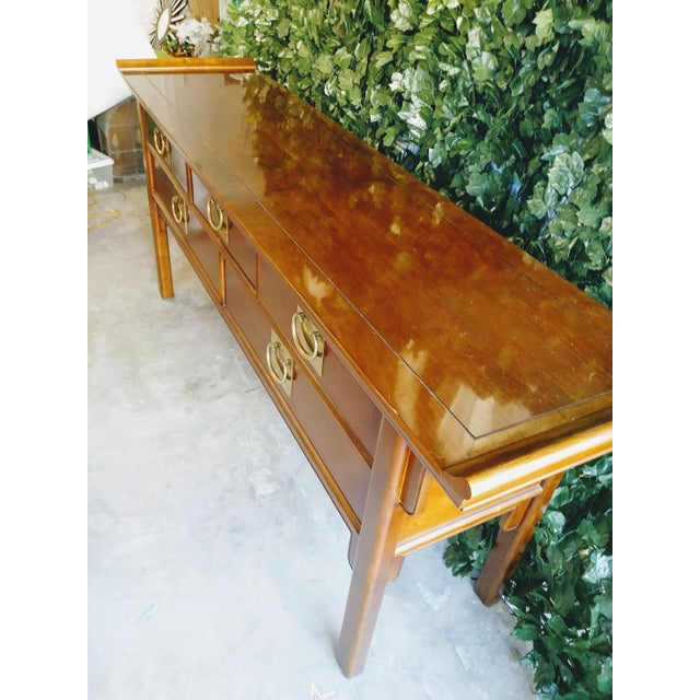 Worrells Regency Pagoda Wood & Brass Sideboard Altar Table For Sale - Image 9 of 10