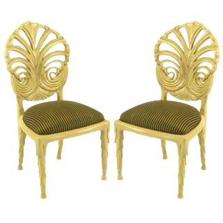 Pair Phyllis Morris Ivory Glazed Carved Side Chairs For Sale
