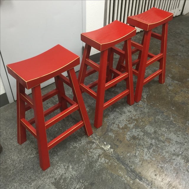 Red Solid Wood Stools - Set of 3 - Image 7 of 10