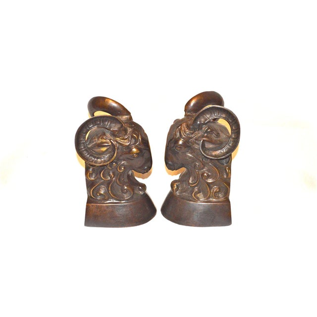 Vintage Bronze Ram Bookends - A Pair - Image 2 of 11