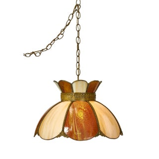 Mid-Century Two Tone Slag Glass Pendant Fixture For Sale