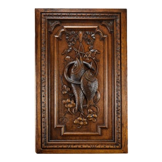 Antique Fishes & Eel Carved Wood Door Wall Panel For Sale