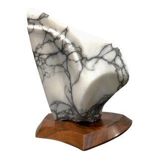 Modernist Marble Sculpture on Walnut Plinth Base For Sale