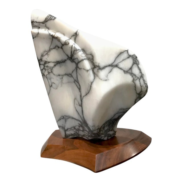 Modernist Marble Sculpture on Walnut Plinth Base For Sale