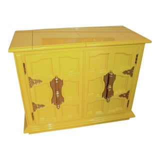Lacquered Hollywood Regency Palm Beach Bar Cabinet