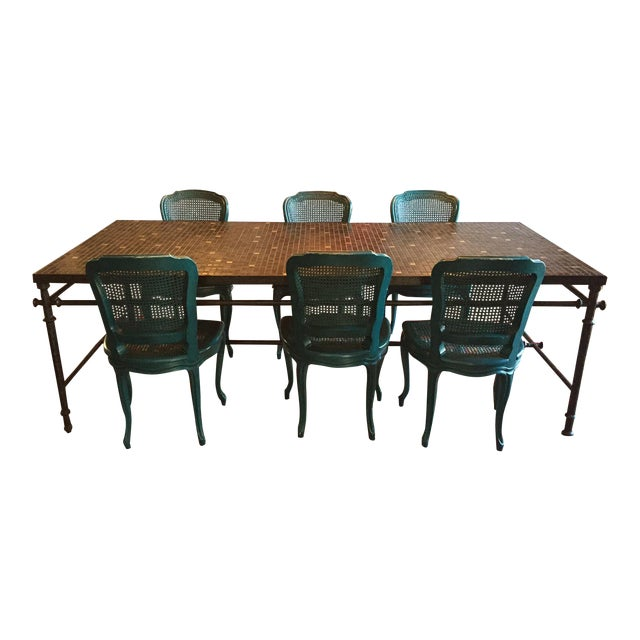 Iron & Mosaic Dining Set - Table & 6 Chairs - Image 1 of 8