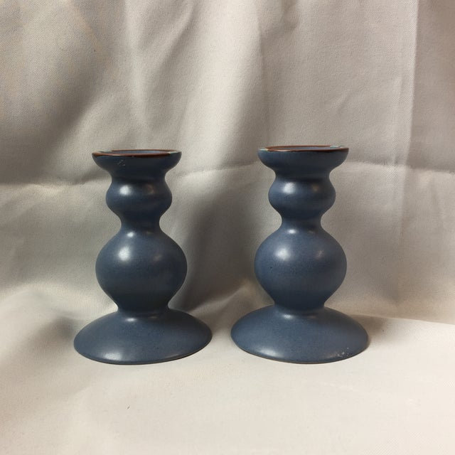 Dansk Curvy Ceramic Candlestick Holders- A Pair - Image 8 of 10