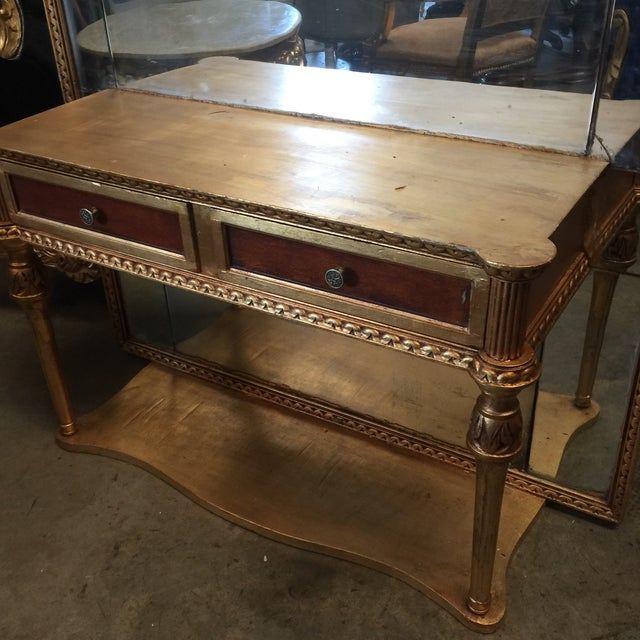 French Neoclassical Gilt Console With Floor Mirror** For Sale - Image 3 of 6