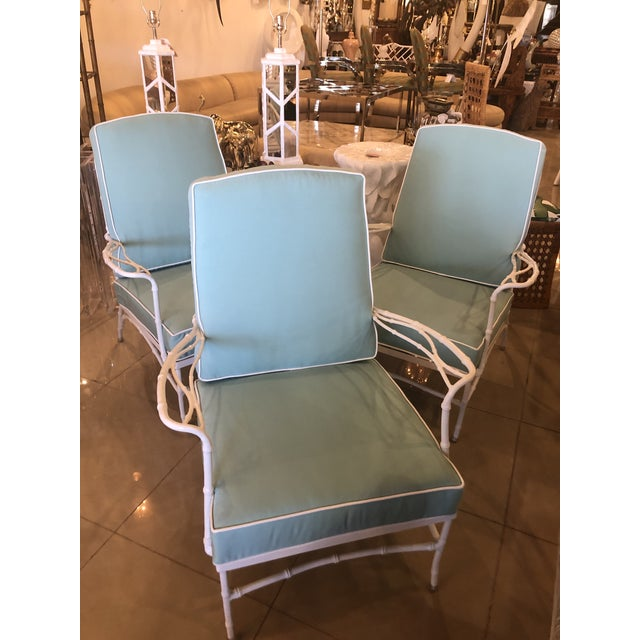 Vintage Sunbrella Faux Bamboo Powder-Coated Metal Lounge Patio Chairs - Set of 3 For Sale - Image 13 of 13