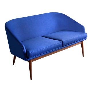 1950s Danish Modern Arne Vodder Restored Blue Loveseat For Sale