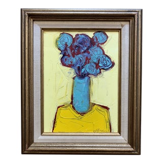 Original Contemporary Alexandra Brown Modernist Pop Art Still Life Oil Painting Framed For Sale