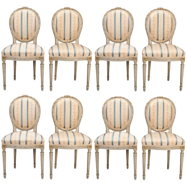 Set of 8 French Louis XVI Cameo Back Dining Chairs With New Upholstery For Sale