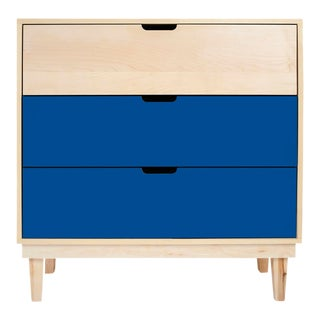 Kabano Modern Kids 3-Drawer Dresser in Maple With Pacific Blue Finish For Sale