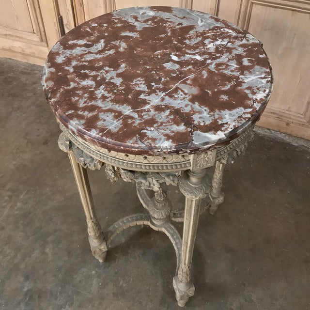 Marble 19th Century French Louis XVI Painted Marble Top Lamp Table ~ Gueridon For Sale - Image 7 of 12