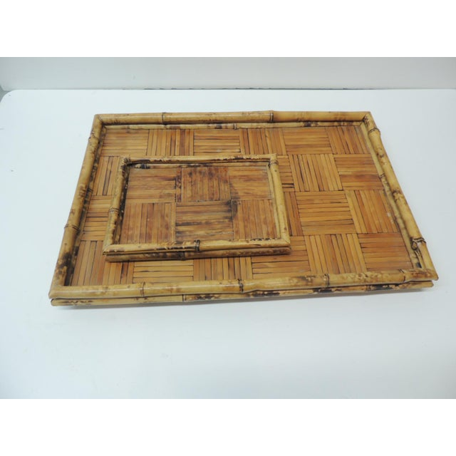 Wood Set of Two Faux Tortoise Bamboo Serving Trays For Sale - Image 7 of 7
