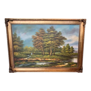 Late 20th Century Landscape Framed Oil Painting For Sale