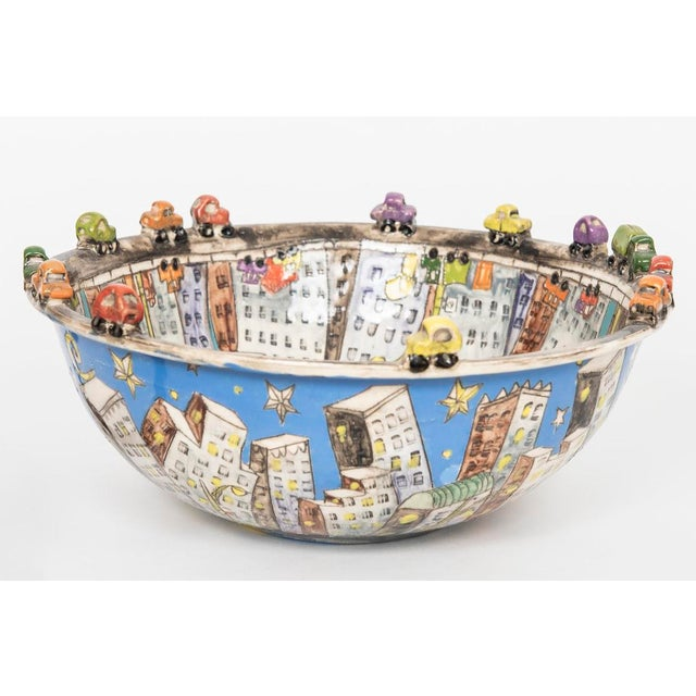 """1990s """"city Scape"""" Ceramic Bowl For Sale - Image 5 of 5"""