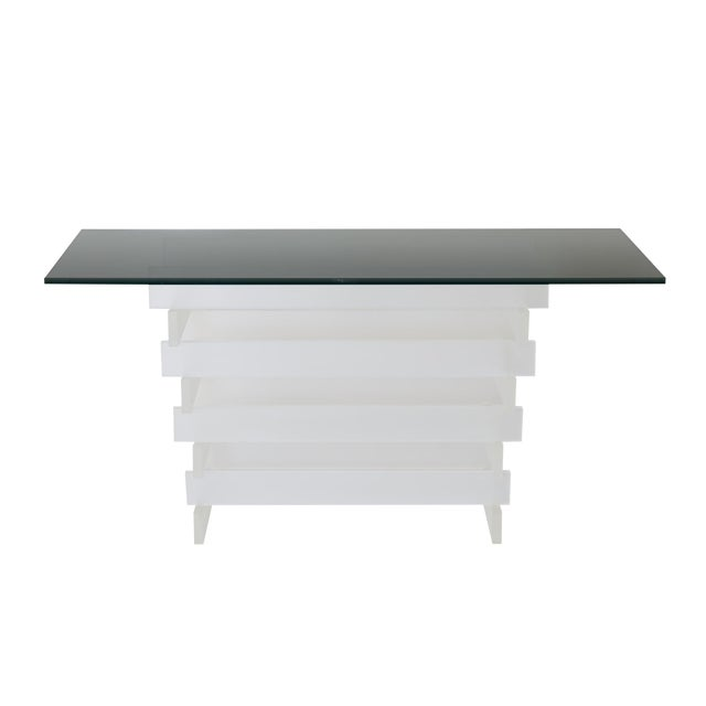 Stacked Frosted Lucite & Smoked Glass Console For Sale