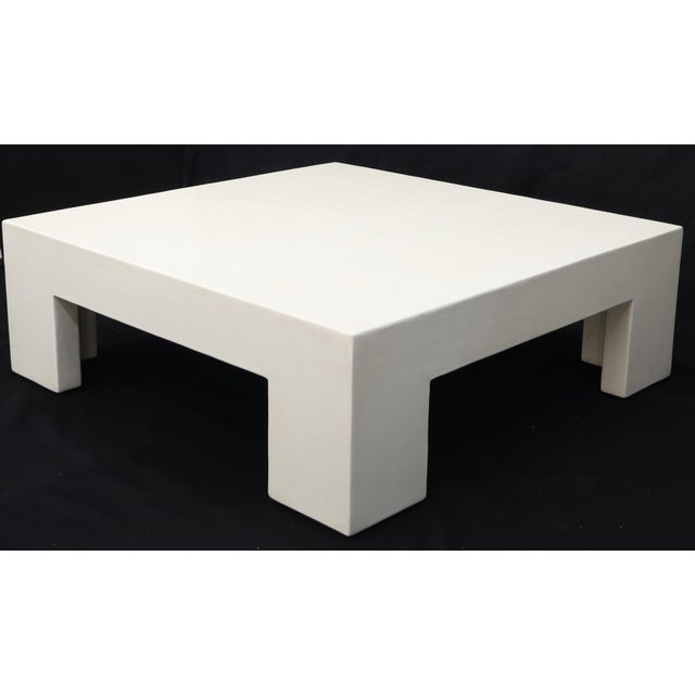 Robert Kuo Large Square White Enamel Lacquer Coffee Table For Sale - Image 6 of 13