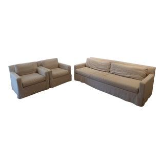 Restoration Hardware Belgian Linen Track Arm Living Room Set - Set of 3 For Sale