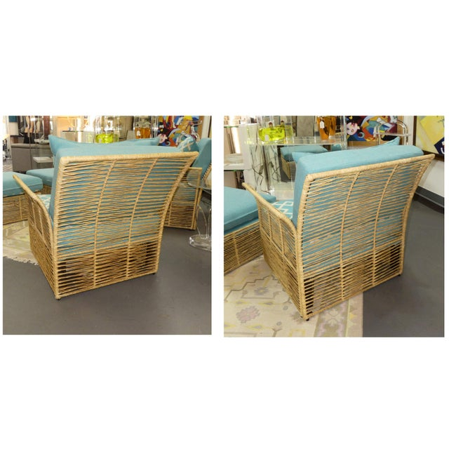 Boho Chic Boho Chic Twisted Raffia Lounge Chairs With Ottomans- a Pair For Sale - Image 3 of 11