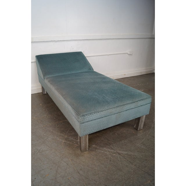 Studio Crafted Brushed Steel Framed Upholstered Chaise Lounge - Image 8 of 10