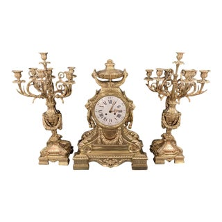j.e. Caldwell Bronze Louis XVI Style Three-Piece Garniture Clock Set, Palatial For Sale
