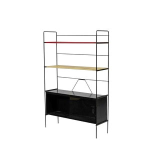 1950s Mid-Century Modern Mathieu Mategot Diminutive Shelf With Sliding Glass Doors For Sale
