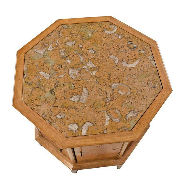 Hollywood Regency Horizon by Thomasville Decorative Abstract Stone Top Octagon Commode Cabinet For Sale - Image 3 of 6