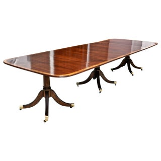 Mahogany Regency Style Three Pedestal Dining Table For Sale