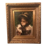 Image of 1980s Oil on Canvas Portrait Painting For Sale