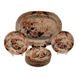 Antique Davenport Platter and Plates - Set of 13 For Sale
