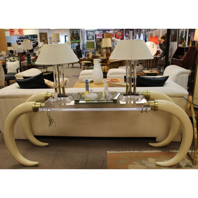White Suzanne Dahl and Jerry Bar Mid Century Modern Lucite Tusk Console Table For Sale - Image 8 of 9