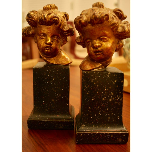 Hollywood Regency Rare Vintage Borghese Putti Cherub Gilt Bookends - A Pair For Sale - Image 3 of 10